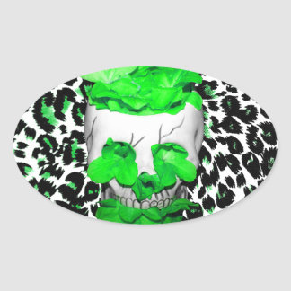Skull and Green Flowers on Leopard Spots Oval Stickers