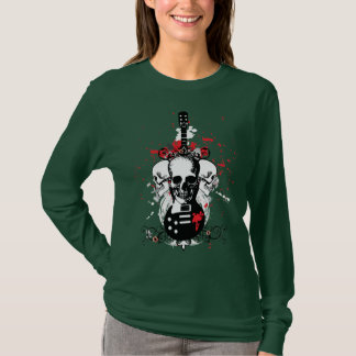 Skull and Guitar Rock and Roll Shirt