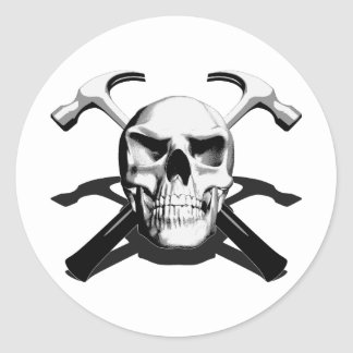 Skull and Hammers Classic Round Sticker