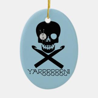 Skull and Hooks Ceramic Ornament