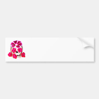 Skull and Hot Pink Flowers Bumper Stickers