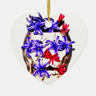 Skull and Hyacinth Flowers Ceramic Heart Ornament