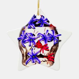 Skull and Hyacinth Flowers Ceramic Star Ornament