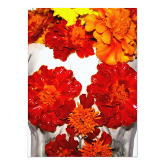 Skull and Marigold Flowers Card