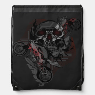 Skull and Motorbikes Graphic Backpack - Dark
