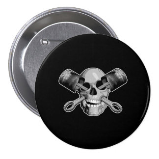 Skull and Pistons v2 3 Inch Round Button