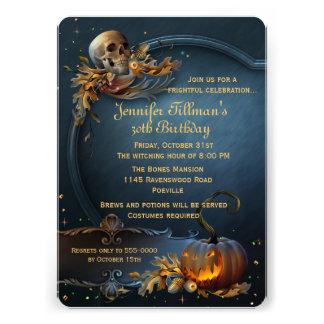 Skull and Pumpkin Halloween Birthday Party Custom Announcement