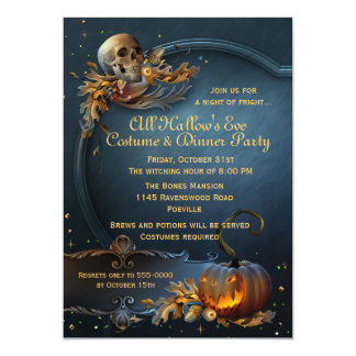 "Skull and Pumpkin Halloween Party 5"" X 7"" Invitation Card"