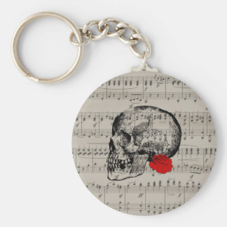 Skull and rose basic round button keychain
