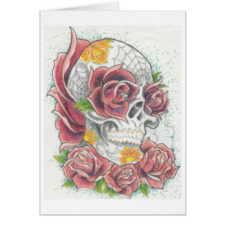 Skull and rose greeting card by Dana Tyrrell