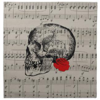 Skull and rose napkin