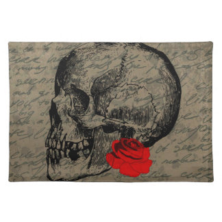 Skull and rose placemat