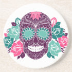 Skull And Roses, Colourful Day Of The Dead Card 3 Coaster