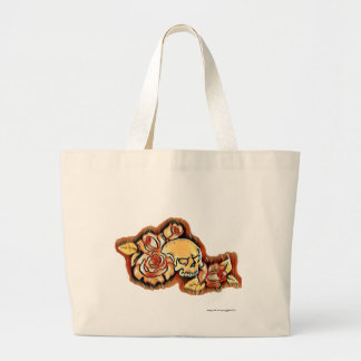 Skull and Roses in browns Large Tote Bag