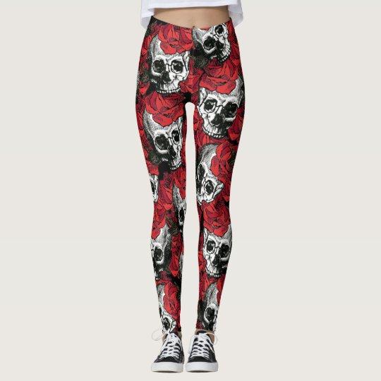 skull and roses leggings