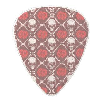 skull and roses polycarbonate guitar pick