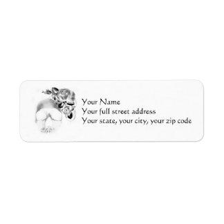Skull and roses return address label