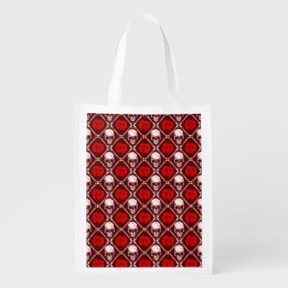 skull and roses reusable grocery bag