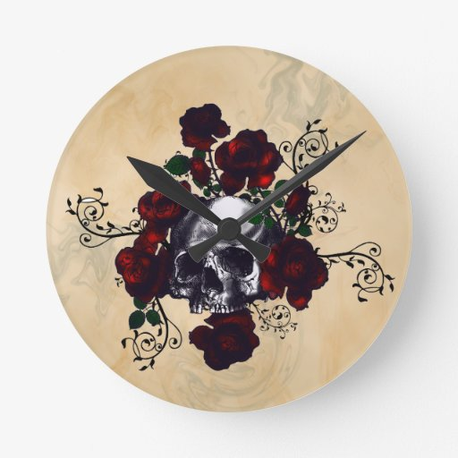 Skull and Roses Tattoo Style Goth Art Round Wallclocks