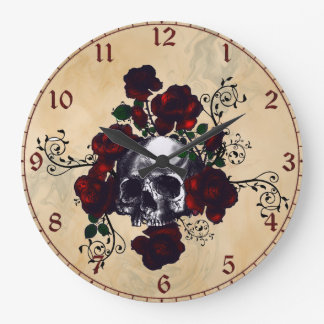 Skull and Roses Tattoo Style Goth Art Large Clock