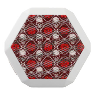 skull and roses white bluetooth speaker