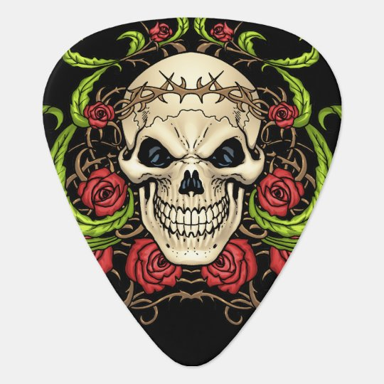 Skull and Roses with Crown Of Thorns by Al Rio Guitar Pick