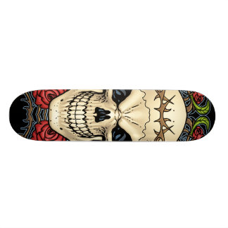 Skull and Roses with Crown Of Thorns by Al Rio Skate Board Deck