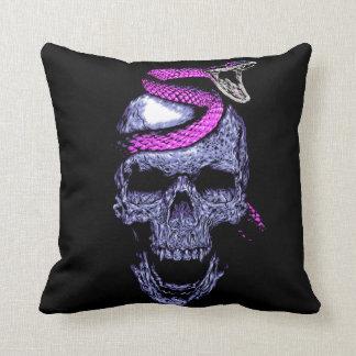 Skull and snake throw pillow