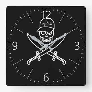 Skull and swords square wall clock