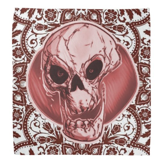 skull and traditional turkish pattern red tint kerchiefs