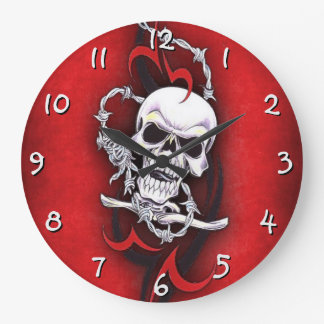 Skull And Tribal Tattoo Large Clock