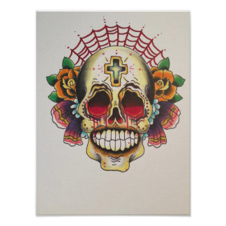 Skull and Web flash Poster