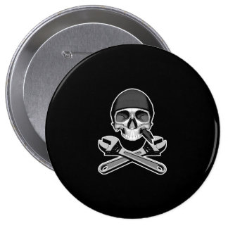 Skull and Wrenches (adjustable) Button