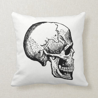 Skull Antique Inspired Halloween Throw Pillow
