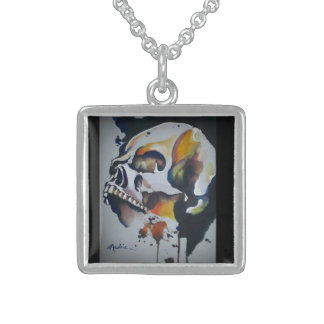 Skull Art on Sterling Silver Charm Sterling Silver Necklace