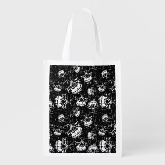 skull background reusable grocery bag