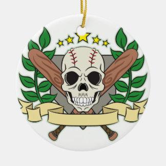Skull Baseball Emblem Laurel Shield Ceramic Ornament