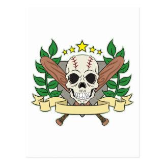 Skull Baseball Emblem Laurel Shield Postcard