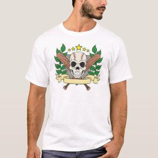 Skull Baseball Emblem Laurel Shield T-Shirt