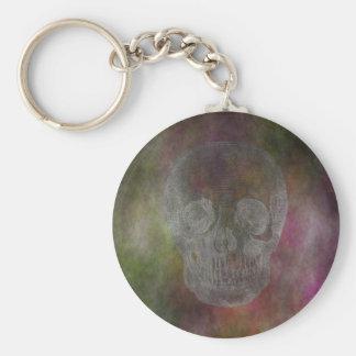 Skull Basic Round Button Keychain