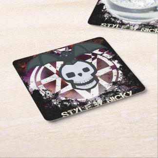 Skull Bat mats Square Paper Coaster