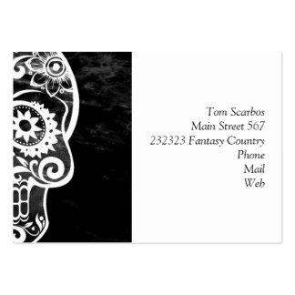Skull black and white 04 business card template