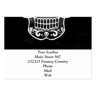 Skull black and white 04 business cards