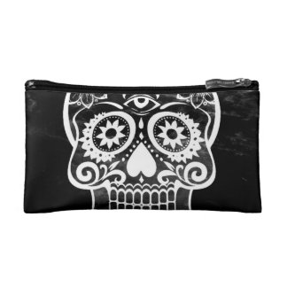 Skull black and white 04 makeup bags