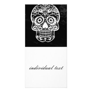 Skull black and white 04 custom photo card