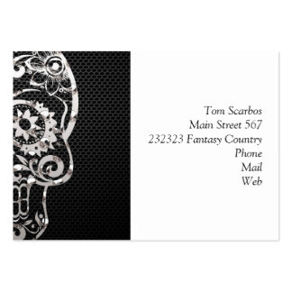 Skull black silver metal 04 business card template