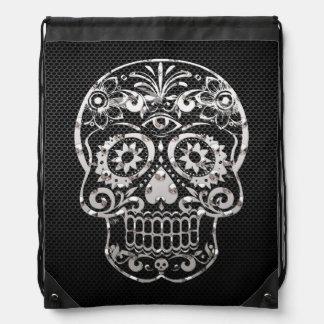 Skull black silver metal 04 cinch bags