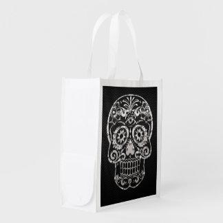 Skull black silver metal 04 grocery bags