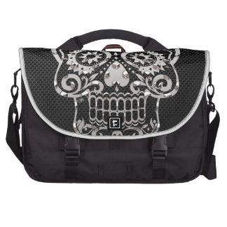 Skull black silver metal 04 laptop commuter bag