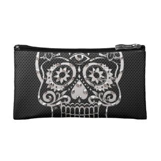 Skull black silver metal 04 makeup bags